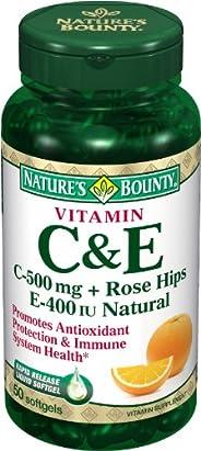 Nature's Bounty Natural Vitamin C 500 mg And Vitamin E 400 IU, Softgels, 5