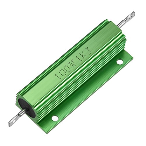 Sourcingmap Aluminium-Gehäuse-Widerstand, 100 W, 1 K Ohm, Drahtgewickelt, Grün für LED-Konverter, 100 W, 1 kRJ