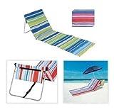 Foldable Beach Chair FOLDING BEACH LOUNGER MAT DECK CHAIR (STRIPE PINK BLUE)