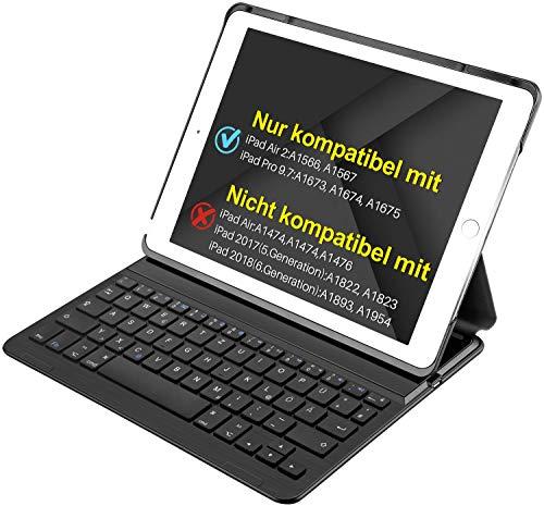 """Inateck iPad Bluetooth Tastatur dt., Keyboard Case für iPad Air 2/iPad pro 9.7 (nicht kompatibel mit iPad 9.7""""(2017)), Smart cover mit aut. Wake/sleep Funktion und Multi-Angle Ständer schwarz"""