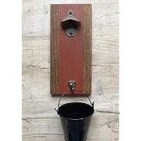 Wall mounted bottle opener with top catching bucket