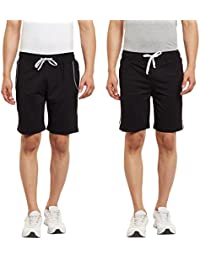 HAIG-DOT Men's Black And Black Cotton Shorts Combo (Pack Of 2)