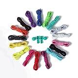 YHLVE - Cordones elásticos sin nudos para zapatillas, con sistema de bloqueo, 1 par, azul marino, Estándar