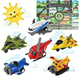 HERSITY 6 Véhicules Jouets d'avion Métal Mini Avion Jouet avec Tapis de Jeu Cadeaux pour Enfant
