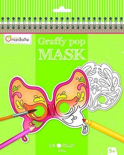 Malbuch Kostüm - Avenue Mandarine GY025O Malbuch Graffy pop mit vorgestanzten Masken zum Ausmalen, 250g Zeichenpapier gedruckt, 24 Blatt, 12 verschiedene Motive x 2, geeignet für Kinder ab 5 Jahren, 1 Stück, Venedig