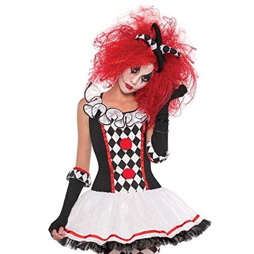 s Harlequin Honig Halloween Clown Jester Harley Quinn Kostüm ()