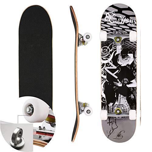 Skateboard Komplettboard für Kinder Jungendliche und Erwachsene Werkzeug ABEC-7 Kugellager und 8-lagigem Ahornholz Funboard 78.5 x 19.5 x 9.5cm Belastung 100 KG für Anfänger und Profis (Color2)