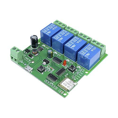 4 Kanal WiFi Drahtlose Relaisverzögerung Schalter Steuerung Momentary Inching Relais Selbstsicheren Schalter Modul für DIY Smart Home Fernbedienung für iOS/Andriod (5-32 V)