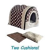 ANPI 2 en 1 Casa y Sofá para Mascotas, Lavable a Máquina Casa Cama de Perro Gato Puppy Conejo Mascota Antideslizante Plegable Suave Calentar con Cojín Extraíble Colchón, 3 Tamaños