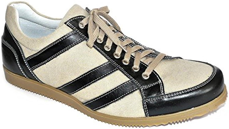 WORLAND Mod.1210 Große Zahlen 100% Made in Italy   Herrenschuhe Sneaker Leder/Canvas