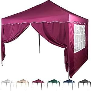 maxstore faltpavillon 3x3 m mit 2 seitenteilen wasserdicht farben w hlbar inkl. Black Bedroom Furniture Sets. Home Design Ideas