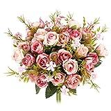 No se caen las flores. La apariencia de rosa real Pero mucho más tiempo de vida que la rosa real. Colores preciosos para iluminar en cualquier lugar que estés viviendo. El paquete incluye: 4 rosas de seda Aritificial. Cada rosa viene con 5 ra...