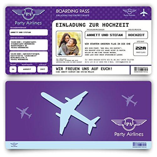 Preisvergleich Produktbild Einladungskarten zur Hochzeit (80 Stück) Flugticket mit Foto Einladung in Lila