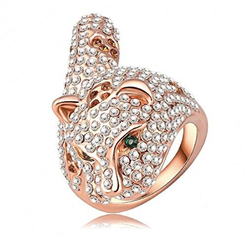 Brillante Elfen Kostüm (Daesar Vergoldet Ringe Damen Leopard Zirkonia Ring Strass Verlobungsring Stein Ring Größe: 57)