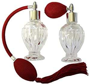Vintage Perfume Atomizer Red Bulb And Tassel Set