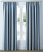 "Mali Striped Blue Beige Cotton Blend Lined 66"" X 90"" - 168cm X 229cm Pencil Pleat Curtains by Curtains"