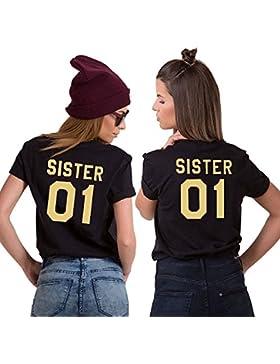 Best Friend Shirt 100% Cotone Coppia T-Shirt BFF Stampa Sister 01 Maglietta Migliori Amiche per Donna Moda Casual...