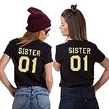 T-Shirt Best Friends für Zwei Damen Mädchen Shirts Beste Freundin Freundschaft Geburtstagsgeschenk 2 Stücke Sister Sommer Baumwolle Tops Oberteil (Schwarz+Schwarz-S+S)