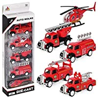 DESONG Pull Back and Go Fire Engine Truck Friction Mini Vehicles Car Toy for 3 year old,5pcs Set