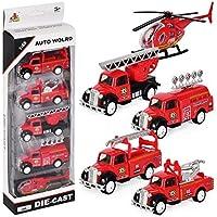 DESONG Véhicule de Camion de pompier Jouet Voiture Miniature Voiture de Friction pour Enfants à partir de 3 Ans, Lot de 5
