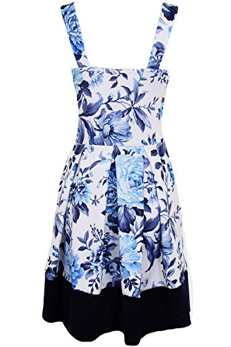 Sapphire - Robe patineuse fleuri encolure en V pour femmes Bleu fleuri