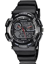 Alienwork Ohsen Reloj Digital- Analógico Multi-función LCD Retroiluminación Outdoor Poliuretano negro negro OS.AD1512-1
