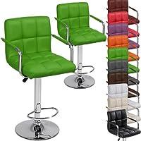 Diseño moderno taburete de Bar con reposabrazos ergonómico (color verde Apple) alta asientos confort silla de piel sintética–altura ajustable barra de desayuno de comedor Home muebles de cocina