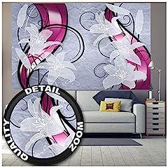 Idea Regalo - GREAT ART Fotomurale - Fiori - Immagine Murale Decorazione da Parete Giglio Bianco Grafica Viticci Germoglio Petali Candido Serra di Gigli Moderno Astratto Carta da Parati (210 x 140 cm)