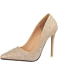 Minetom Mujer Primavera Dulce Boda Zapatos de Tacón Elegante Brillante Rhinestone Zapatos Tacón Alto Zapatos Pumps Stiletto