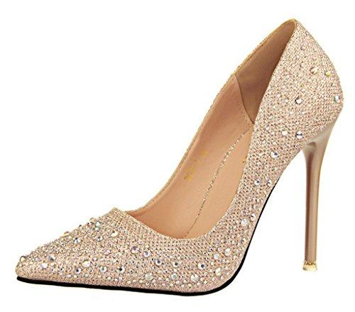 Minetom Donna Pointed Toe Scarpe Strass Stiletto Shoes Scarpe Col Tacco Da Sposa Lucide Scarpe Con Tacco Scarpe Oro EU 37