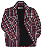 Herren Karo Thermohemd / Jacke mit Plüschfell Fleece Fell Innenfutter Holzfällerhemd Arbeitshemd Flanellhemd Kariert gefüttert Reißverschluss (XL, Rot)