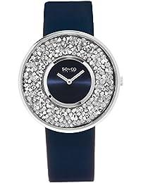 Por lo tanto y CO es el reloj de cuarzo de las mujeres de Nueva York con esfera azul y azul de la correa de cuero 5223,2