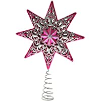 WeRChristmas Shatterproof Plastic Christmas Tree Topper Star With Glitter - 21 cm, Hot Pink