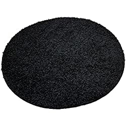 Tapis de bain Resibano - Forme ronde - Diamètre: 65 cm - Hauteur des poils: 15 mm - Antidérapant , Caoutchouc, Noir , 65 cm