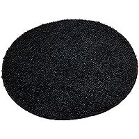 Alfombra de baño redonda (, 65cm de diámetro, 15mm flor, antideslizante, Alfombrilla de baño, cama Alfombrilla, Negro, 65 cm