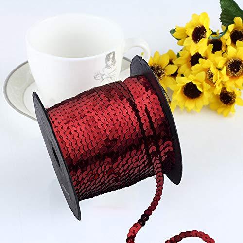 Exquisites, strahlendes flaches AsentechUK®-Pailletten-Band zum Nähen, Basteln, Verschönern - Zubehör zum Selbstnähen - 1Rolle: 6mm breit, PVC, rot, 90m - Pailletten-band