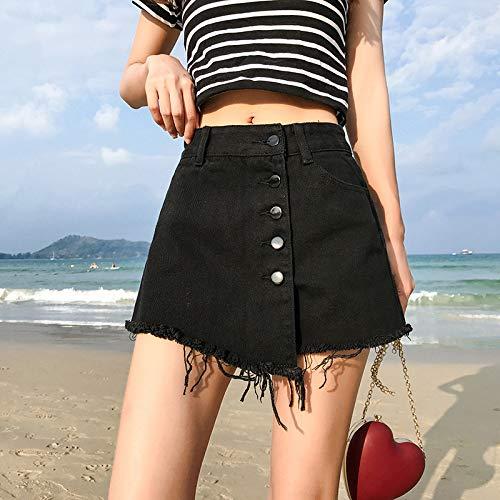 LDTSF Shorts Rock Denim Shorts Weiß Vintage Breites Bein Hohe Taille Weiblich Lose Frauen Sommer Shorts Jeans Kurze Hosen mit Knöpfen Blcak XL -