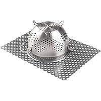 mDesign Protector fregadero – Práctica rejilla de plástico para evitar arañazos en fregaderos de acero inoxidable – Alfombrilla escurridora para pila o encimera – Tamaño grande – Color gris
