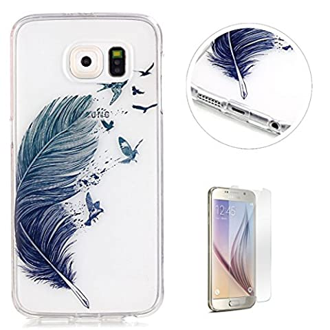 Crystal Clear Samsung Galaxy S6 Silicone Gel Case [with Free Screen Protector],KaseHom Birds and Feather Pattern Design Ultra Slim Soft Durable Rubber Skin Scratch Resistant Transparent Bumper Shell TPU Protective Case Cover for Samsung Galaxy