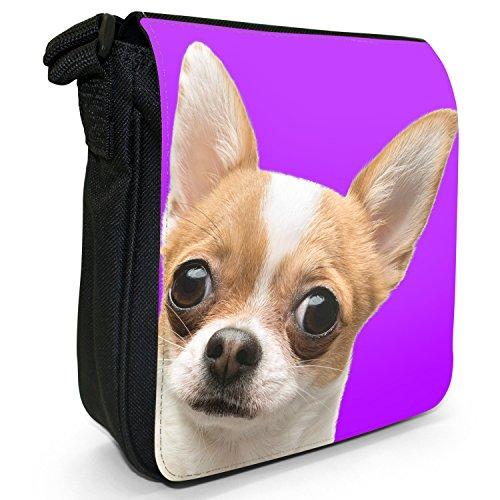 Ultra Cute Chihuahua Close Up Piccolo Nero Tela Borsa a tracolla, taglia S Purple Background Chihuahua