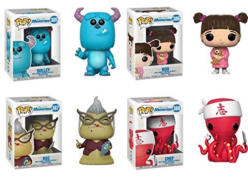 FunkoPOP Monsters Inc: Sulley + Boo + Roz + Chef – Stylized Disney Pixar Vinyl Figure Bundle Set