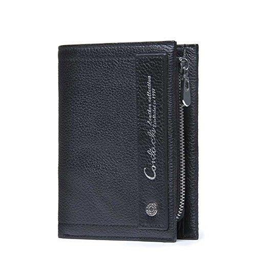 Herrenbrieftasche aus Leder Herrenbrieftasche aus Leder Herrenbrieftasche Herrenaktentasche Short Purse Wrist Bags Business Casual Clutch Bag Herrenbrieftasche Business Casual ( Color : Black )