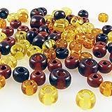 90 große Rocailles Glasperlen 6-8mm Perlen Mix topas braun mocca -729