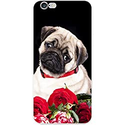 Funda Love Pug para teléfonos móviles, plástico, Pug With Red Rose Bouquet, Apple iPhone 7