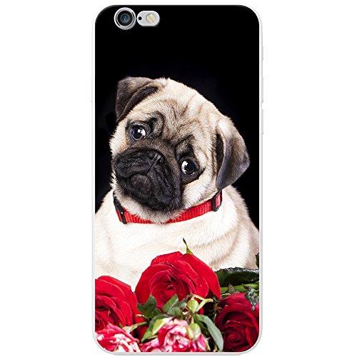 Carcasa rígida para teléfono móvil, diseño de perro de raza carlino, plástico, Pug With Red Rose Bouquet, Apple iPhone 7