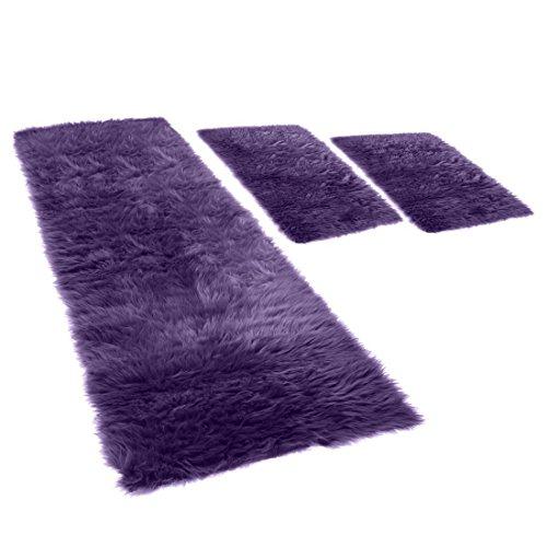Flokati Bettumrandung, 3-teilig, in beere, 2x 70x110 + 70x220cm, Teppich/ Vorleger mit 70mm Hochflor Fell (synthetisch)