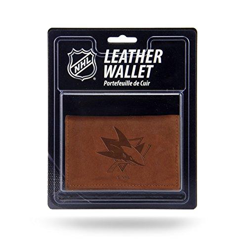Unbekannt Rico Herren NHL San Jose Sharks geprägtes Leder Trifold Wallet, Tan, 12,7x 7,6cm