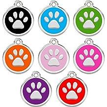 CNATTAGS personalizado grabado diseñadores redondo Paw Pet Discos Pet ID Tag perro y gato etiqueta etiqueta