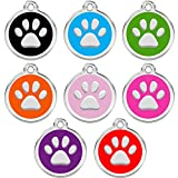 CNATTAGS Personalized Engraved Designers Round Paw Pet Disc Pet ID Tag Dog Tag Cat Tag (Pink Light)