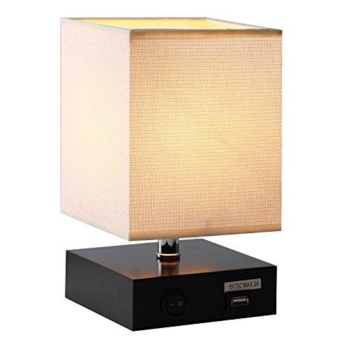 MiniSchreibtischlampe,WaykingHolzTischleuchtmit5V/2AUSBAnschluss,LampemitCremigSchirmalsGeschenke,fürBüro,Schlafzimmer,Wohnzimmer